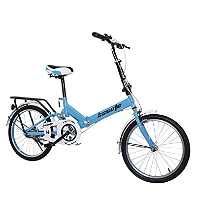 New 20 Inch Folding City Bike for Women and Men, Mini Lightweight Portable Commuter Bike, High Tensile Comfort Bicycle for Student Office Worker Urban Environment with Suspension System
