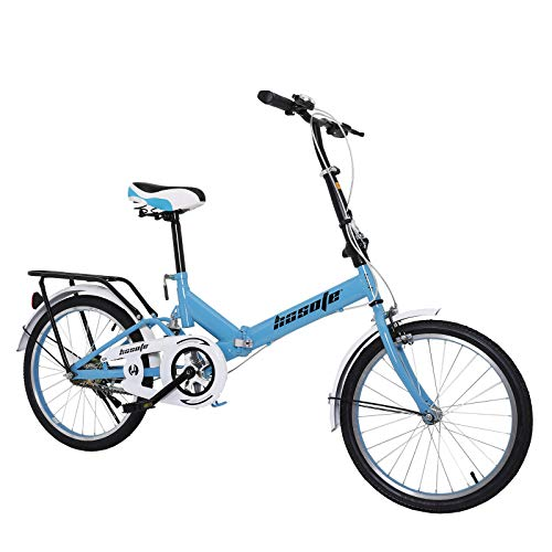 hosote 20 inch Folding Commuter Bike, Mini Lightweight City Bicycles for Women Men and Teens, Blue [US in Stock]