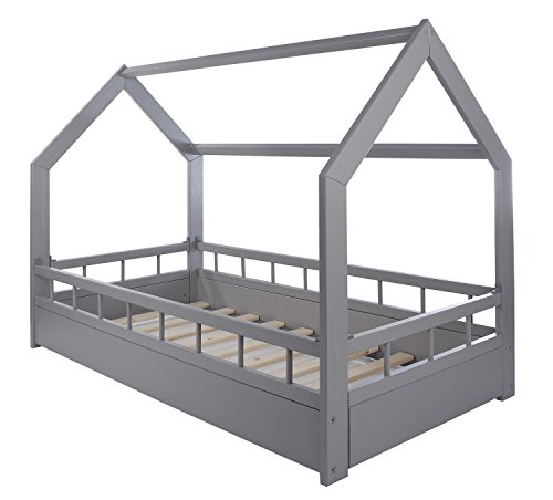 Velinda Lit Maison cabane 2 en 1 avec barreaux, Chambre d'enfant, Bois Naturel 160x80 cm (Couleur: Gris)