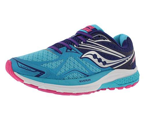 Saucony Women's Ride 9 Running Shoe,Navy/Blue/Pink,US 9 N