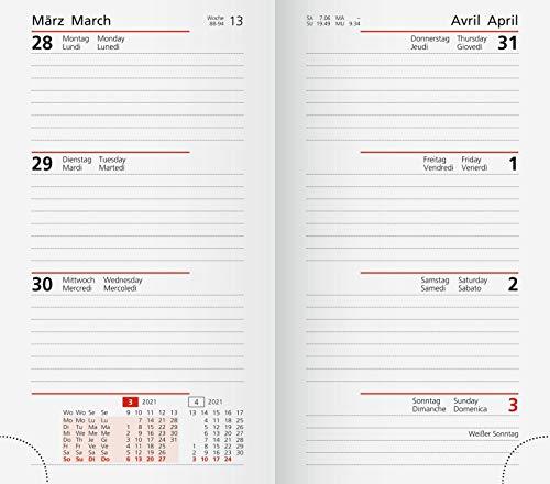 rido/idé 7016911001 Taschenkalender Ersatzkalendarium Taschenplaner int., 2 Seiten = 1 Woche, 87 x 153 mm, Karton-Umschlag, Kalendarium 2021