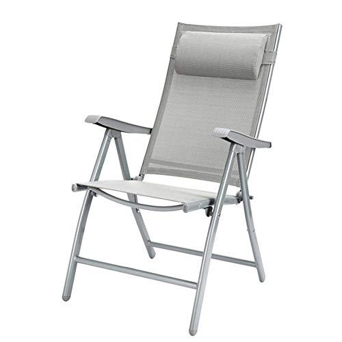 Sillas de jardín reclinables para personas pesadas Playa al aire libre Camping Silla portátil Tumbona en casa Sillas de patio con soporte para cojín de cuello 200 kg (color: negro con algodón gris)