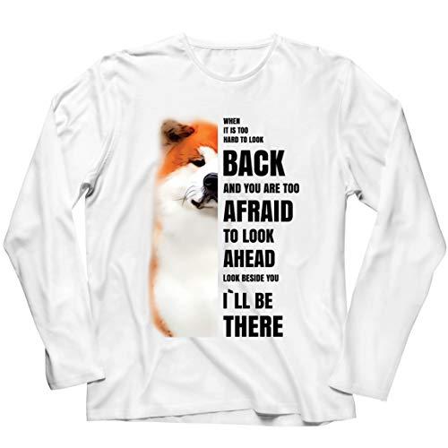 lepni.me Camiseta de Manga Larga para Hombre Will be There for You Motivational Akita Inu Dog Lover Gift (4XL Blanco Multicolor)
