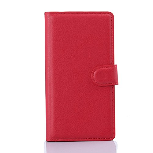 Tasche für Sony Xperia M4 Aqua (5 zoll) Hülle, Ycloud PU Ledertasche Flip Cover Wallet Hülle Handyhülle mit Stand Function Credit Card Slots Bookstyle Purse Design rote
