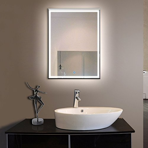 BHBL 28 x 36 in Vertical LED Bathroom Silvered Mirror with Touch Button (C-C226)