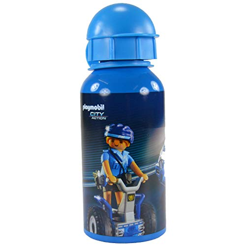 PLAYMOBIL City Action – Trinkflasche 400 ml mit Polizei Motiv Kinder, Aluminium, 400ml