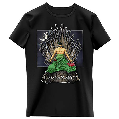 T-Shirt Enfant Fille Noir Parodie One Piece - Game of Thrones - Roronoa Zoro X Eddard Stark - Game of Swords (T-Shirt Enfant de qualité Premium de Taille 3-4 Ans - imprimé en France)