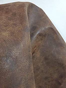 NAT Leathers | Brown Distressed 2 Tone Oily Faux Vegan Leather PU {Peta Approved Vegan} | 1 Yard 36 inch x 54 inch Cut by Yard Pleather 0.9 mm Upholstery | Brown Crazy Horse Distress 36 X54
