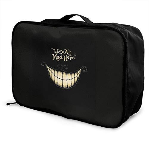 Alice in Wonderland were Ah Mad Here Smiley Fface Bolsa de viaje impermeable ligera de gran capacidad portátil bolsas de equipaje de mano