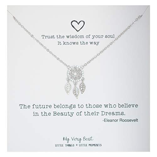 My Very Best Sparkling Dream Catcher Necklace (silver plated brass)