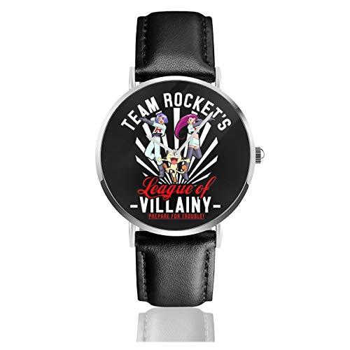 Unisex Business Casual Team Rocket League of Villainy Monster of The Pocket Uhren Quarzuhr Lederarmband Schwarz Young Collection Geschenk