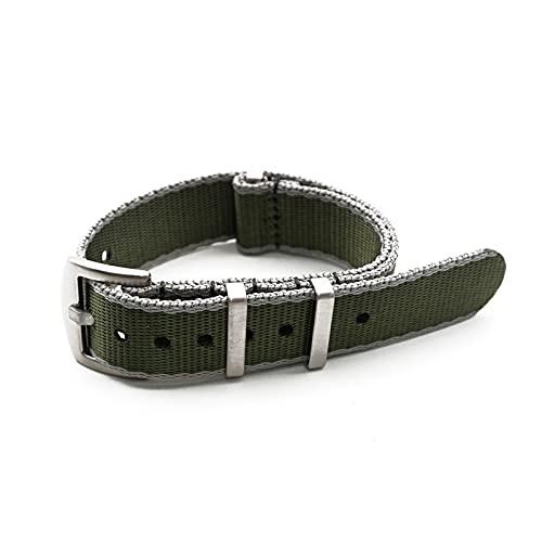 20/22mm NATO Strap Sport Watch Nylon cinturino, Verde Grigio Bordo, 22mm