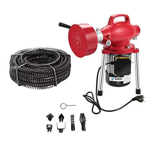 Anbull GQ80 elektrische Rohrreinigungsmaschine,400u/m, 400W/ 230V Rohrreiniger,geeignet für Ø20-150 mm Rohrleitungen, elektrische rohrreinigungsspirale, Abflussreiniger mit Ø10mm 16mm Spiralen (400w)