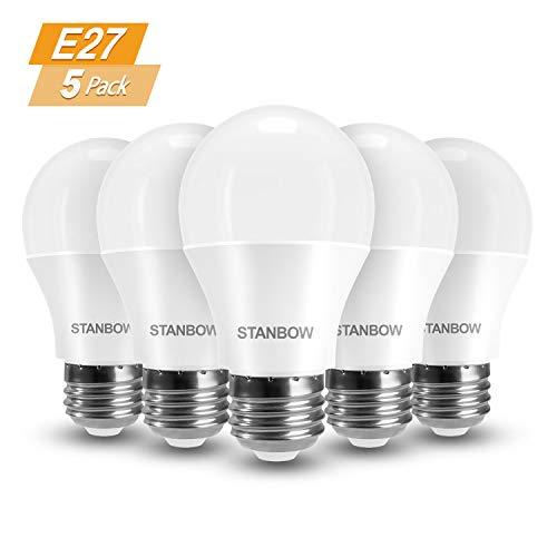 E27 LED Lampe, STANBOW 9W Glühlampe Ersetzt 60W Glühbirne, A60 Leuchtmittel, 800 Lumen 3000 Kelvin Warmweiß Sparglühbirnen, 5 Stück[Energieklasse A+]