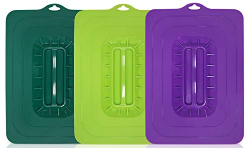 Elite Gourmet Rectangular Silicone Suction Lids and Food Covers Fits various sizes of casseroles, baking pans, dishes or containers, Set of 3, Multi
