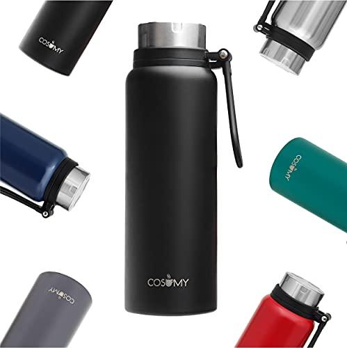 Botella Termo para Agua Fria o Cafe - 1 Litro - Negro - Grande - Acero Inoxidable - Botella Termica para Llevar