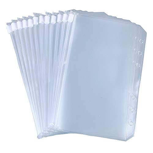 Antner 12pcs Binder Pockets A6 Size 6 Holes Binder Zipper Folders for 6-Ring Notebook Binder Loose Leaf Bags, Waterproof PVC Pouch Document Filing Bags