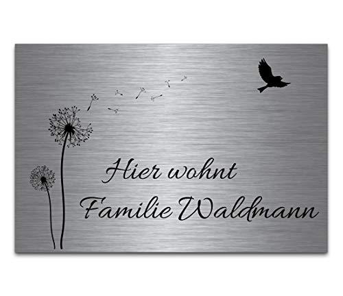 Edelstahl Türschilder mit Gravur | Namensschilder Briefkastenschild selbstklebend oder mit Bohrlöcher 15x10 cm eckig mehr als 80 Motive Klingelschild - Türschild für die Haustür mit Namen selbst gestalten