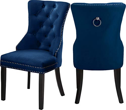 Meridian Furniture Nikki Collection Modern | Contemporary Velvet Upholstered Dining Chair with Button Tufting and Chrome Nailhead Trim, Set of 2, 23' W x 23' D x 40' H, Navy