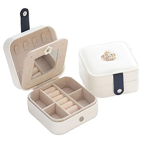 lijun Portable Leather Jewelry Organizer Display Earrings Rings Necklace Storage Case