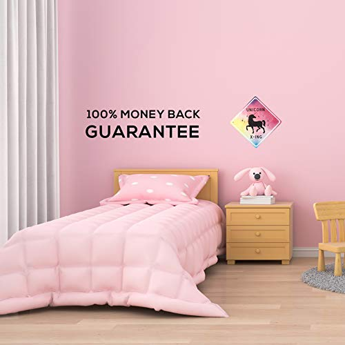 Unicorn room decor - unicorn crossing sign, beautiful bedroom wall decoration for girls. put the poster away and add magic to any girls room with our novelty aluminum x-ing unicorns signs