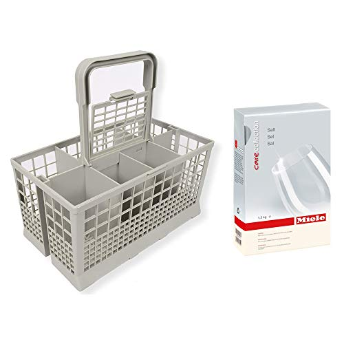 """Price comparison product image Appliance Pros 9.45"""" x 5.5"""" x 4.7"""" Dishwasher Basket Organizer with Handle and Miele Care Collection 1.5kg Dishwasher Cleaner Reactivation Salt - Bundled Value Pack"""