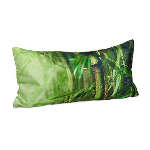 Relaxdays Badewannenkissen Bambus, Nackenkissen Badewanne mit Saugnäpfen, Reisekissen weich, HBT: 10 x 37 x 17 cm, grün