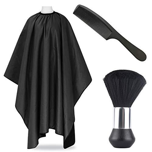Friseurumhang - Schwarze Haarschneideumhang Wasserabweisend Friseurcape für Friseursalon Cape Salon Zubehör (schwarz2set)