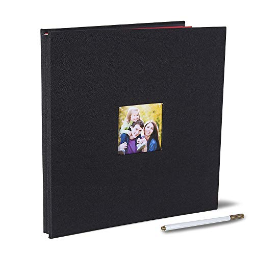 Large Self Adhesive Photo Album 13 x 12.6 Inches Magnetic Scrapbook Album 40 Magnetic Double Sided Pages Fabric Hardcover DIY Photo Album with A Metallic Pen (Black)