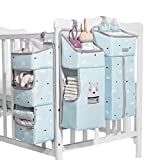 SUNVENO Windel Lagerung für Kinderzimmer Babybett Lagerung Windeln hängenden Korb Wickeltisch-Organizer für Windeln und Wickelzubehör Baby-Windel-Organizer mit Herausnehmbaren Trennwänden(Blau)