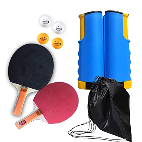 GGOODD Paquete De Tenis De Mesa, Juego De Ping-Pong Todo En Uno, Juego De Raquetas De Tenis De Mesa Profesional con Bolas De Juego Y Red Retractil Jugar En Interiores O Exteriores,E