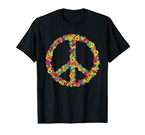 Peace Love 60er 70er Flower Power Hippie Kostüm Geschenk T-Shirt