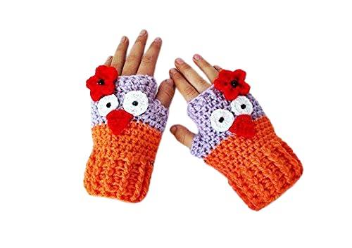 Max 51% OFF Indianapolis Mall Crochet Girl Gloves Owl Orange Fingerless gloves