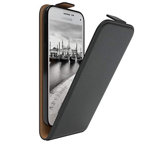 EAZY CASE Hülle kompatibel mit Samsung Galaxy S5 Mini Hülle Flip Cover zum Aufklappen, Handyhülle aufklappbar, Schutzhülle, Flipcover, Flipcase, Flipstyle Case vertikal klappbar, Kunstleder, Schwarz