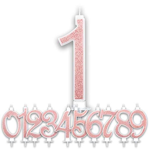 Candeline 1 Anno Grandi Compleanno Rosa Gold Glitter | Numeri brillanti per Torta Festa Birthday Bambina Ragazza Donna | Decorazioni Candele Topper Auguri Anniversario | Altezza 13 CM