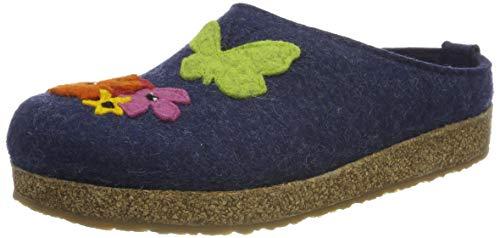 HAFLINGER Grizzly Garden, Pantofole Donna, Blu (Jeans 72), 41 EU