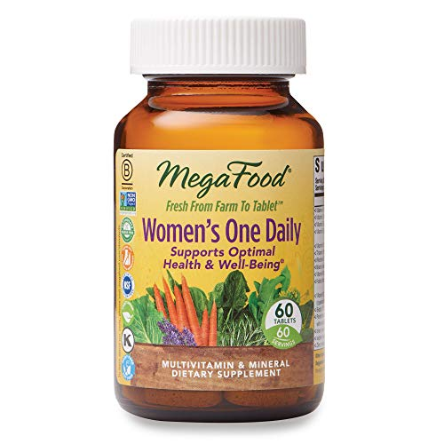 MegaFood, Women's One Daily, Daily Multivitamin and Mineral Dietary Supplement with Vitamins C, D, Folate and Iron, Non-GMO, Vegetarian, 60 Tablets (60 Servings) (FFP)