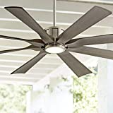 60' The Defender Modern Indoor Outdoor Ceiling Fan with Light LED Dimmable Remote Control Brushed Nickel Light Wood Blades Damp Rated for Patio Porch - Possini Euro Design