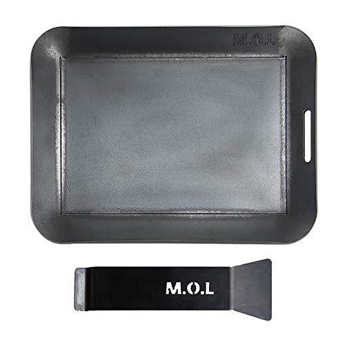 M.O.L 極厚アウトドア鉄板 M (15cm×20cm×4.5mm厚/取手&ヘラ付き/フチ有り)