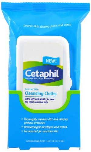 Cetaphil Gentle Skin Cleansing Cloths, 25 Count (Pack of 1)