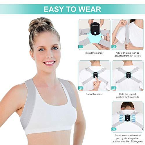 Smart Posture Corrector, EKUPUZ Back Brace with Intelligent Sensor Vibration Reminder, Adjustable Strap, Universal Size Posture Trainer for Men and Women