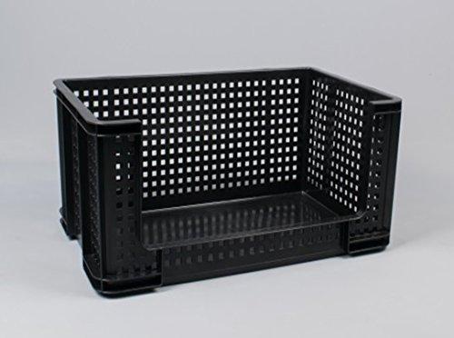 64 litros Extra fuerte con apertura frontal caja para recogida de apilamiento de ventilación de plástico cajas de Really Useful caja – reforzado bases – Garaje Almacén Industrial de almacenamiento., negro: Amazon.es: Jardín