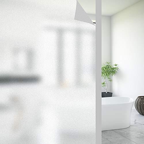 FORTUNAM Fensterfolie Sichtschutzfolie Milchglasfolie Glasfolie Selbstklebend Folie Fenster Statische Haftung Blickdicht Privatsphäre Scheibenfolie Anti-UV Folie für Bad Badzimmer