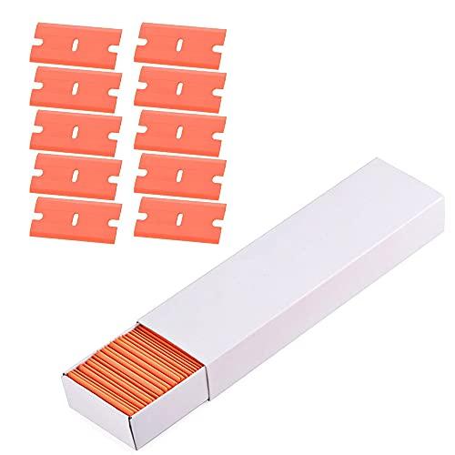 YeenGreen 100 Pcs Cuchillas de Repuesto para Rascador, Cuchillas de Plastico para Quitar Las Etiquetas Engomadas, Pegamento, Limpiador para Placa de Inducción y Vitrocerámica, Naranja