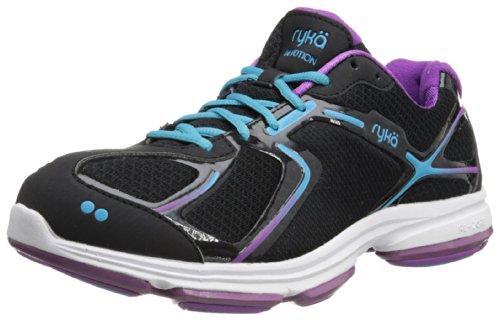 RYKA Women's Devotion Walking Shoe,Black/Bright Violet/Detox Blue,8 W US
