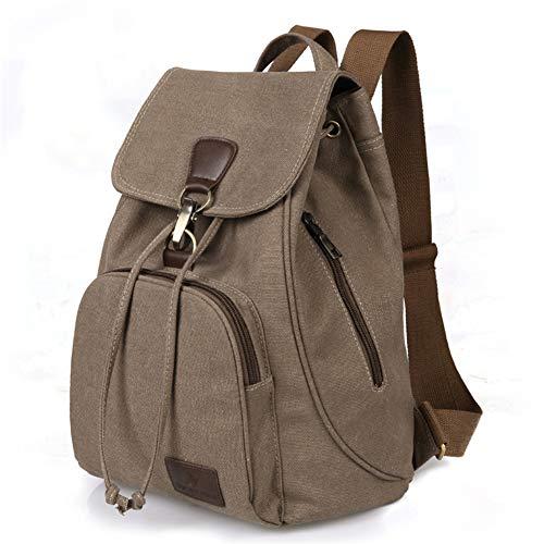 ARTGHJL Casual Daypacks Unisex Casual College Bag Hiking Bag 15.6-inch Laptop Business Backpack Canvas Rucksack (Khaki)