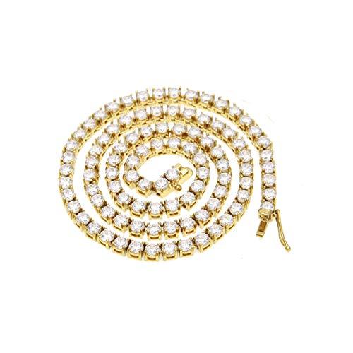 AueDsa Cadena para Collar Hombre,Cadena de Caja de Tenis Circonita Blanca Collar de Cadena de Aleación Oro Collar Cadena Ancha Mujer 4MM Cadena Larga 51CM