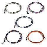 Zeayebsr Cadena de Gafas,Cordones para Gafas Correa Cuerda Gafas de Sol Étnico Cadena de Gafas Lectura Retenedor Estampado Étnico de Gafas Mujer Hombre Niños Accesorios para Gafas Universales(5 Pcs)