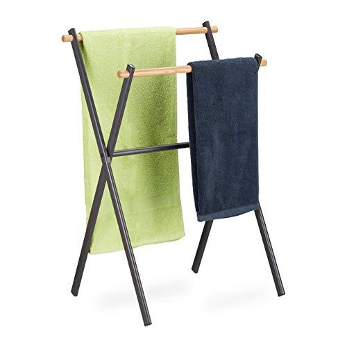 Relaxdays Handtuchständer freistehend, 2 Stangen f. Handtücher, Badezimmer, Stahl & Holz, HBT 85 x 59 x 45 cm, anthrazit
