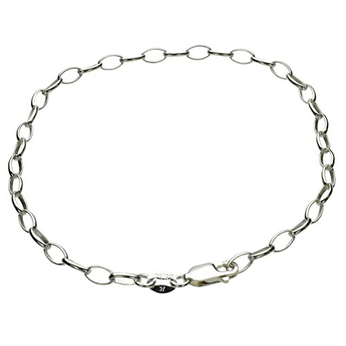 Sterling Silver Rolo Oval Clip-on Charm Adjustable Soldered Link Bracelet Italy, 11